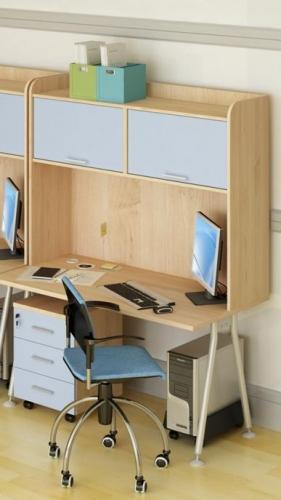 """Офисная мебель """"Модуль"""", в комплект входит: стол на металических опорах, надстройка, тумба мобильная."""