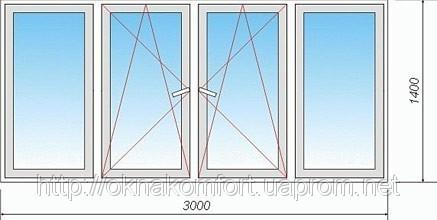 Окна и двери металлопластиковые 3000х1400