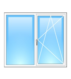 Окно металлопластиковое двухстворчатое Steko 1300*1400мм (Украина), фурнитура Roto(Германия)