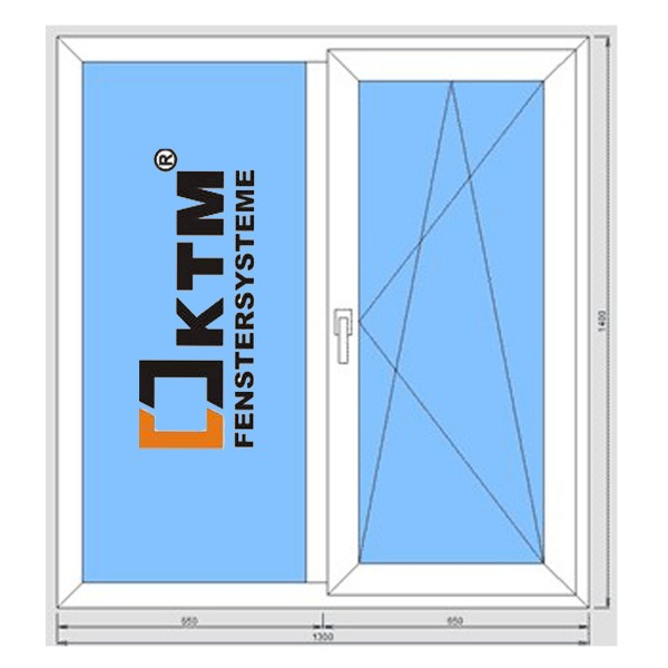Окно металлопластиковое KTM Terma 1300*1400 подоконник 25 см, отлив 15 см, монтаж, демонтаж