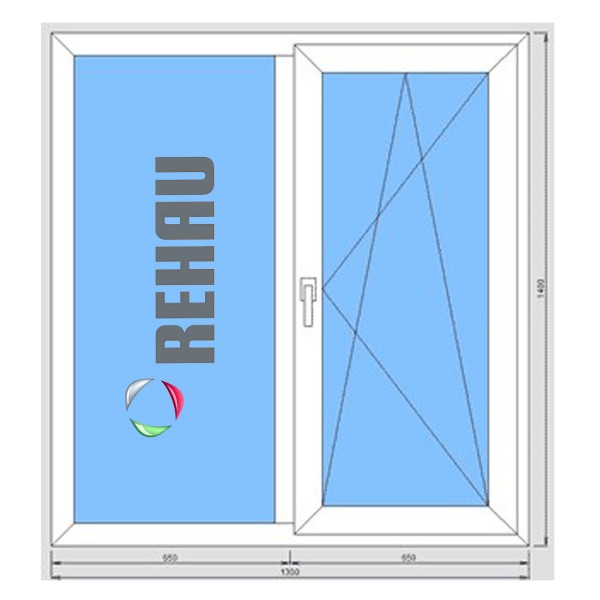 Окно металлопластиковое Rehau Evro 60 1300*1400 подоконник 25 см, отлив 15 см, монтаж, демонтаж