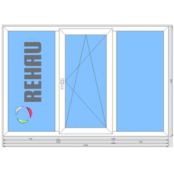 Окно металлопластиковое Rehau Evro 60 2100*1400 подоконник 25 см, отлив 15 см, монтаж, демонтаж
