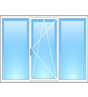 Окно металлопластиковое Steko (Украина) трехстворчатое 1800*1400мм, фурнитура Roto(Германия)