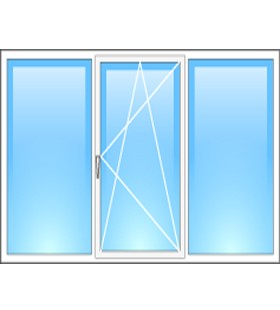 Окно металлопластиковое трехстворчатое REHAU (Германия) 1800*1400мм, фурнитура Maco (Австрия)