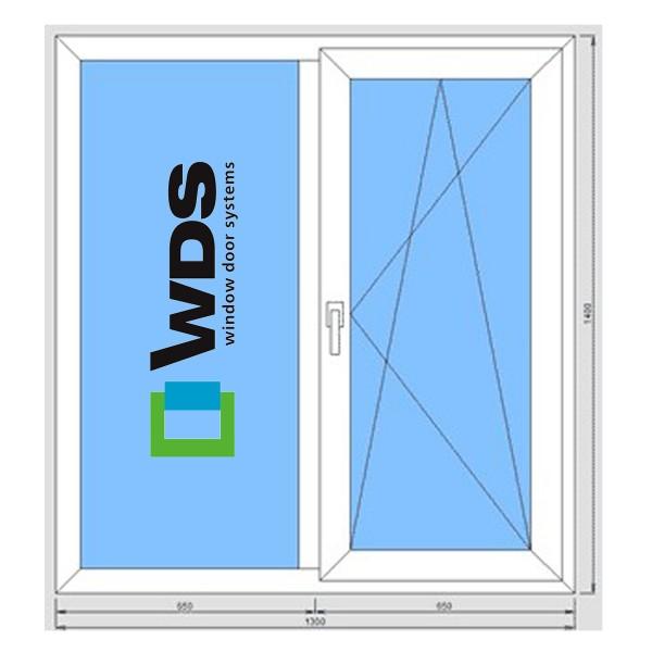 Окно металлопластиковое WDS 400 1300*1400 подоконник 25 см, отлив 15 см, монтаж, демонтаж