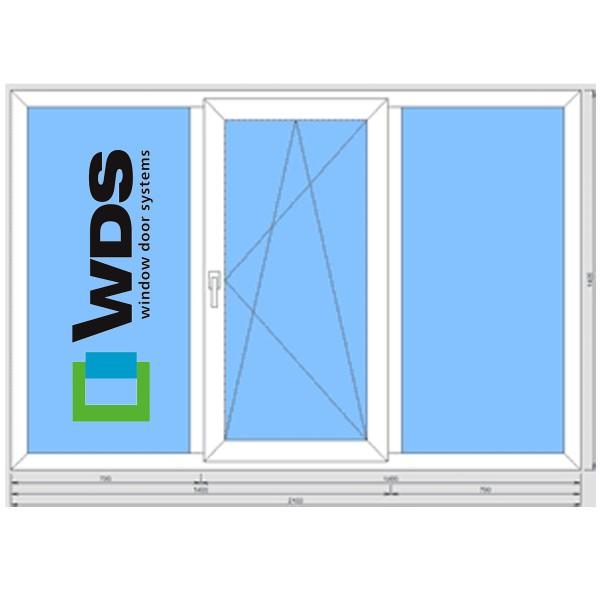 Окно металлопластиковое WDS 400 2100*1400 подоконник 25 см, отлив 15 см, монтаж, демонтаж