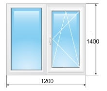 Окно REHAU (Ш/В) 1200х1400 двухстворчатое с одним открыванием!