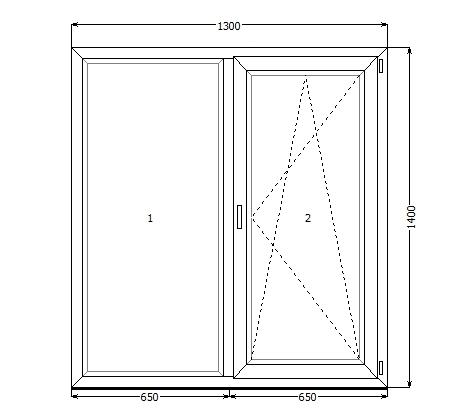 Окно VEKA SoftLine82 LIGHT 1300*1400, фурнитура Siegenia Favorit(Германия), стеклопакет 44 мм