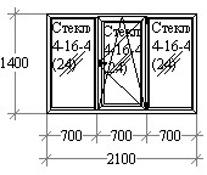 Оконный блок 2100х1400 OpenTeck, Vorne