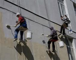 Окраска фасадов с люлек по подготовленной поверхности