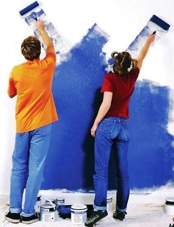 Окраска потолка и стены, шпатлевка под покраску