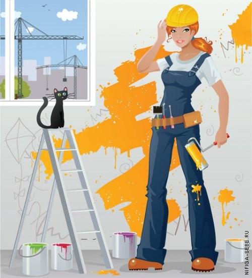 Окраска стен валиком водоэмульсионной краской 2 раза