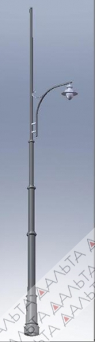 Опора трубчатая декоративная для контактной сети со светильником