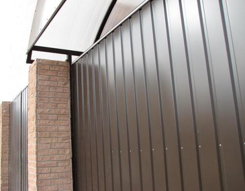 Откатные ворота 3250х1800, обшивка с одной стороны