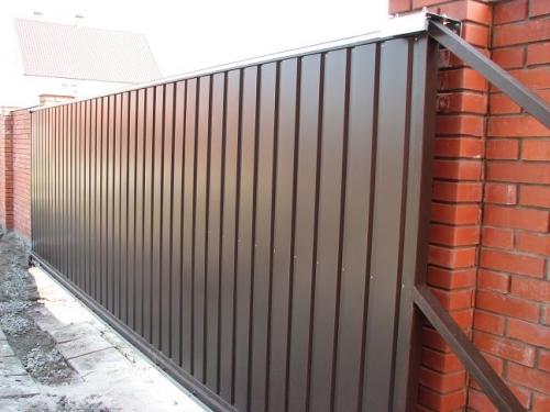 Откатные ворота 3750х1900, обшивка с двух сторон