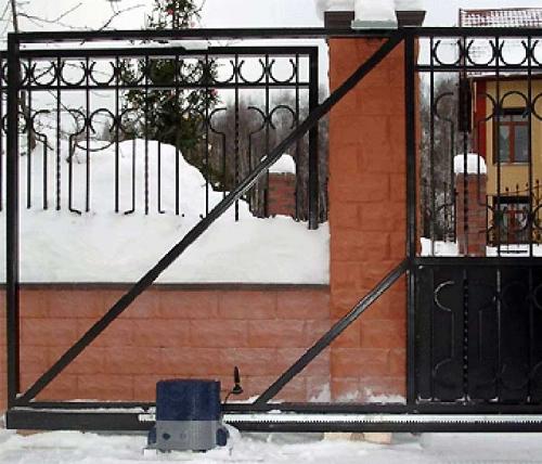 Откатные ворота 4000х2000, обшивка с двух сторон