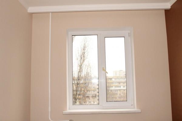 Откосы из влагостойкого гипсокартона на двухстворчатое окно