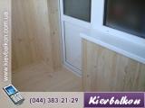 Откосы на балконе из деревянной вагонки (балконный блок) (в стоимость входит материал и работа)