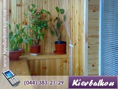 Откосы на балконе из деревянной вагонки (окно комнаты) (в стоимость входит материал и работа)