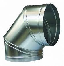 Отвод 90* круглый Д=125 мм из оцинкованной стали толщиной 0,5 мм