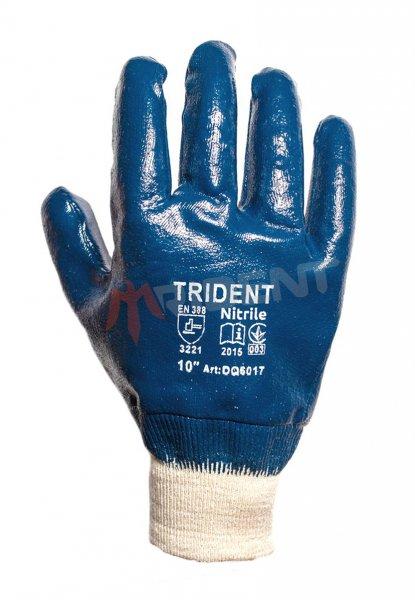 Рукавички DQ6008 на трикотажній основі з синім одношаровим нітриловим покриттям 3/4. Трикотажный манжет.