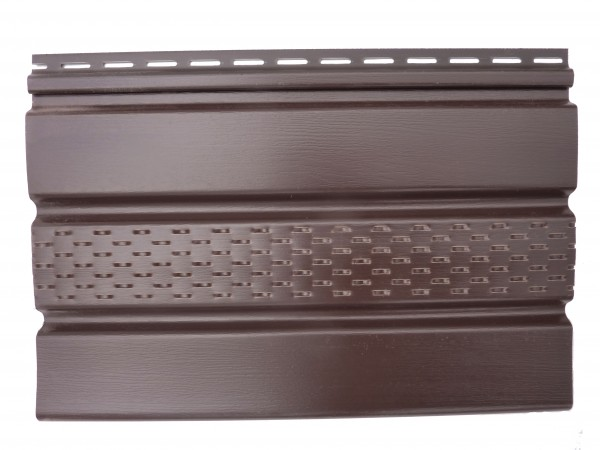 Панель Соффит (карнизная подшивка) мелкая текстура; S–1.07м2. Длина-3,5м. Ширина-0,305м. Цвет-коричневый, гранит