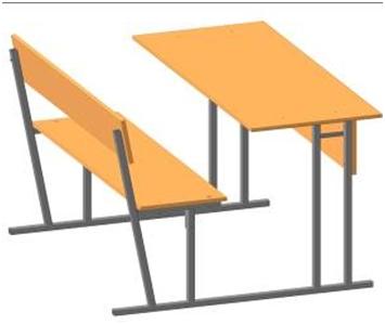 Парта школьная моноблок двухместный, столешница прямая или наклонная