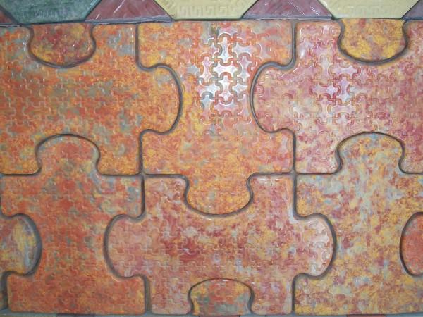 Пазл размер 45,0*30,0 11 шт. на 1 кв. м толщина 4,0 см, цвета:желтый, черный, красный, коричневый, серый