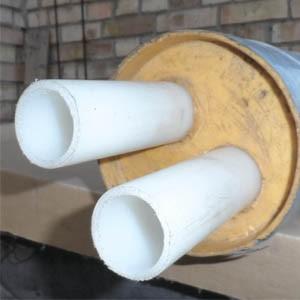 PE-RT трубы теплоизолированные пенополиуретаном в полиэтиленовой оболочке для сетей горячего водоснабжения.