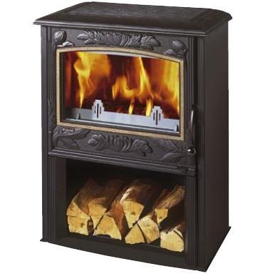 Печь каминофен чугунная 10 кВт отопление помещения 337м3. Стеклянная дверь, обзор огня, длительное горение. Selestat 2