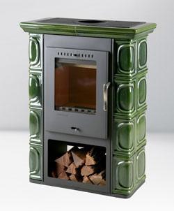 Печь каминофен в изразцах 7 кВт отопление помещения 98-165м3. Стеклянная дверь обзор огня. Borgholm keramik