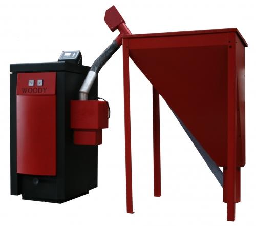 Пеллетный котел Woody 30, вес 280 кГ, мощность 30 кВт, производства ОРОР(Чехия), автоматический розжиг и очистка