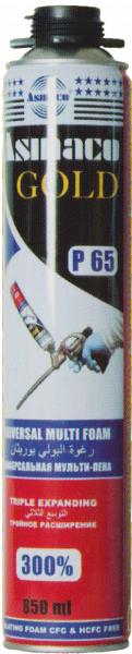 Профессиональная монтажная пена Asmaco P65, 850мл, 65 л, 1000г
