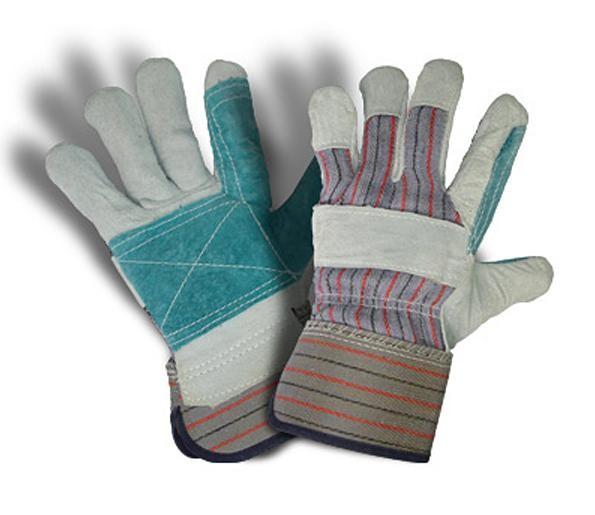 Перчатки комбинированные х/б кожа (спилок, усиленный наладонник)