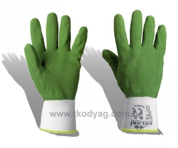 Перчатки ПЭ, покрытые вспененным латексом к.4526