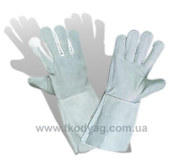 Перчатки с крагами кожаные