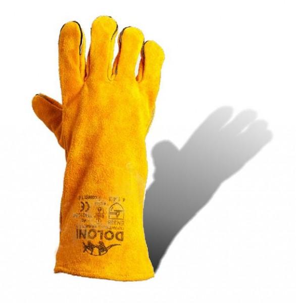 Перчатки с крагами кожаные Люкс (спилок уплотненный)