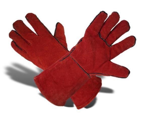Перчатки с крагами кожаные (спилок, уплотненные)