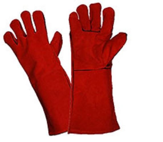 Перчатки спилковые с крагами красные