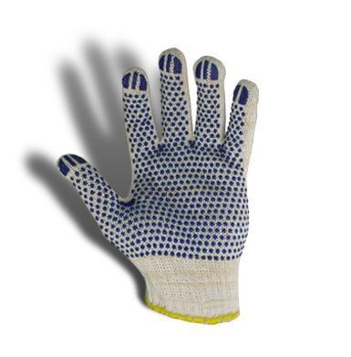 Перчатки трикотажные уплотненные с ПВХ точкой (синие)
