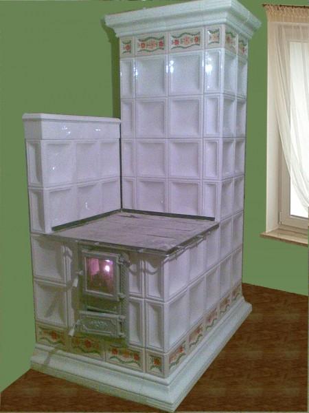 піч - кухня з розписними вставками розміщення - до стіни (розпис - під замовлення, широкий вибір кольорів)