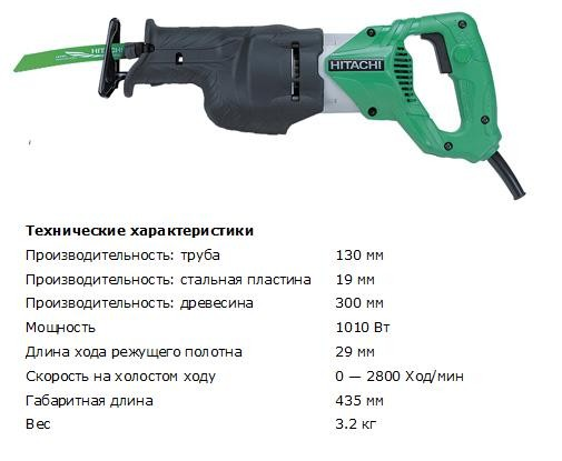 Пила сабельная Hitachi CR13V2 (1010Вт, 130мм, 3.2кг, кейс)