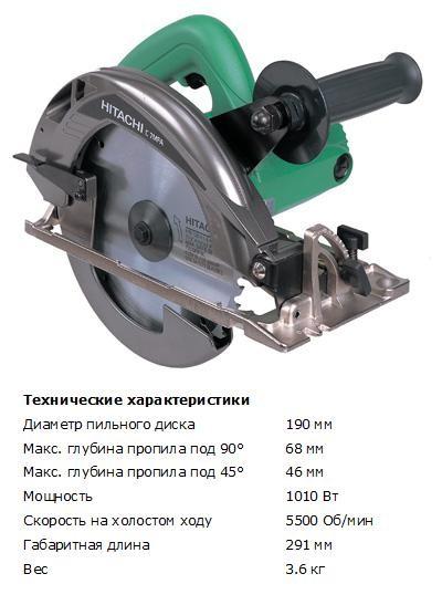 Пила циркулярная Hitachi C7MFA (диаметр диска 190мм, глубина пропила 68мм, 1050Вт, 3.6кг)