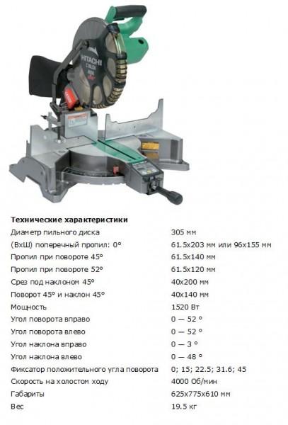 Пила торцовочная Hitachi C12LCH (диаметр диска 305мм, 1520Вт, 19.5кг, лазерный указатель)