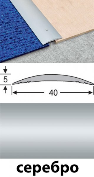 Фото  1 Планка соединительная алюминиевая анодированная 40мм серебро 0,9м 2134660