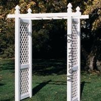 Пластиковая садовая арка. Высота - 2180 мм, ширина 1220 мм, глубина - 610 мм.