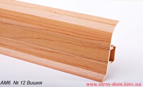 Плинтус глянцевый пластиковый кабель канал с мягким краем АМ6 №12 Вишня