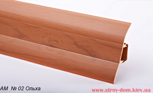 Плинтус пластиковый Плинт с мягким краем с короб каналом Ольха АМ № 2