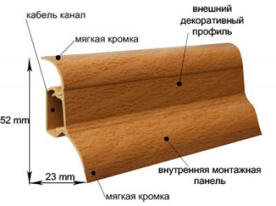 Плинтус пластиковый (с кабель-каналом) KORNER LP52 2,5 метра