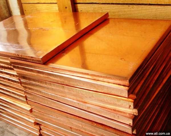 Плита медная 10 мм - 60 мм М1, М2, М3 полутв.0,6х1-2м